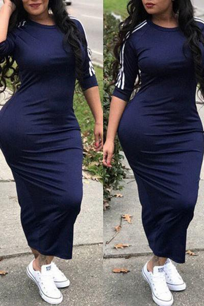 Casual Sports Stripe 3/4 Length Sleeve Bodycon Midi Dress