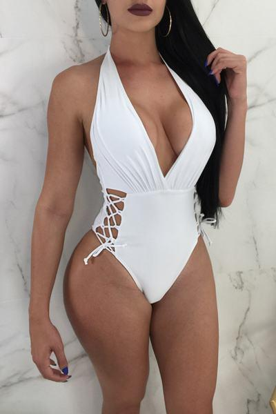 Lace Up Side Deep V Plunging Neck Scoop Back One Piece Swimsuit