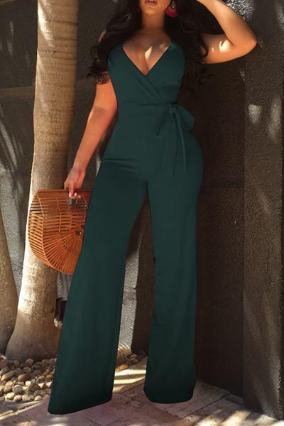 Sleeveless Deep V Neck Long Plain Jumpsuit