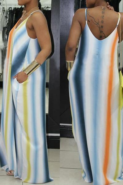 Striped V Neck Sleeveless Long Dress