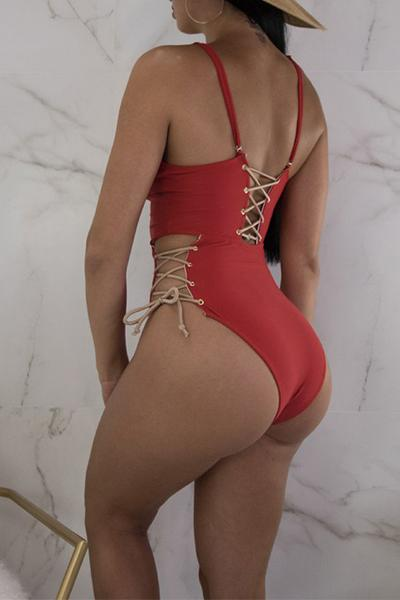 High Leg Deep V Plunging Neck Lace Up Cut Out One Piece Swimsuit