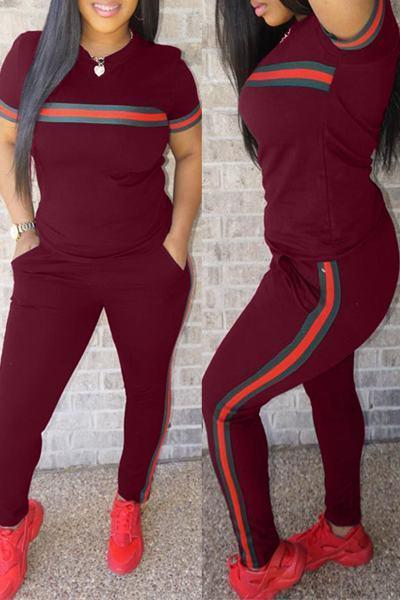 Short Sleeve Round Neck Top & Leggings Striped Set