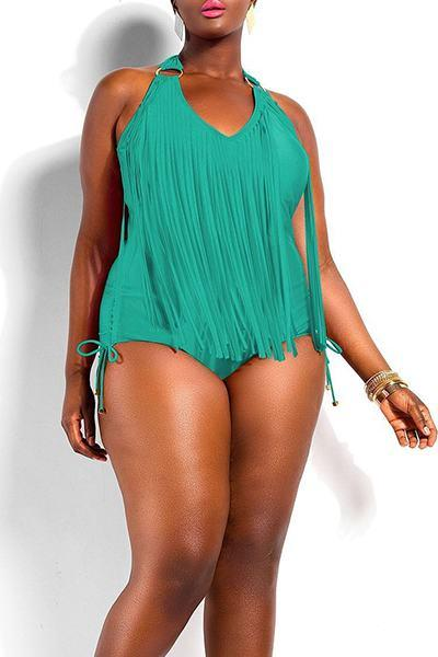 Plain V Neck High Leg Regular Swimsuit
