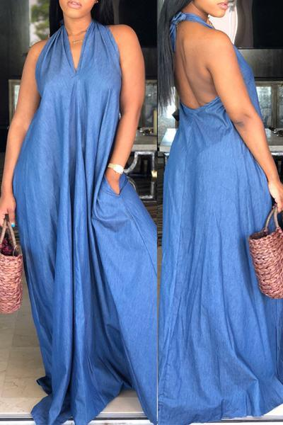 Sleeveless Halter Neck Long Plain Dress