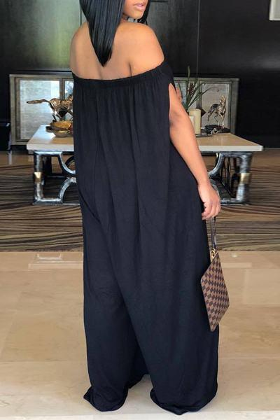 Plain Off Shoulder Split Sleeve Regular Jumpsuit