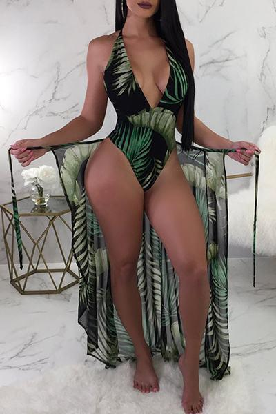 High Leg Deep V Neck Leaf Print Swimsuit & Sarong Skirt Set