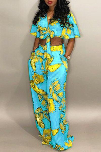 Yellow & Green Leaf Print Crop Top & Wide Leg Pants Set