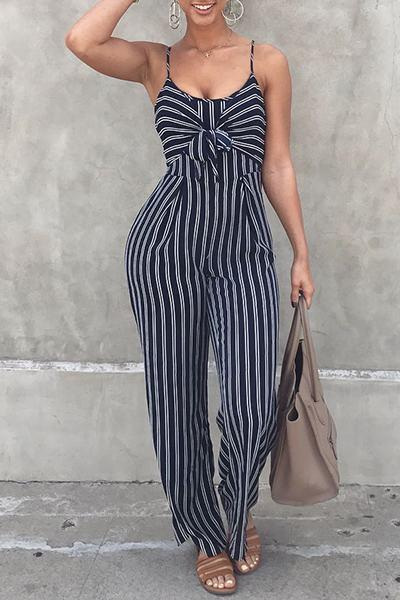 Sleeveless Spaghetti Strap Long Striped Jumpsuit