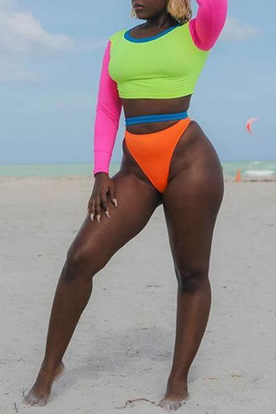Long Sleeve Round Neck Neon Color Block Bikini Tankini