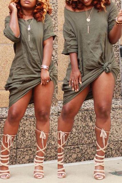 Half Sleeve Boat Neck Short Army Green Knotted T-Shirt Dress