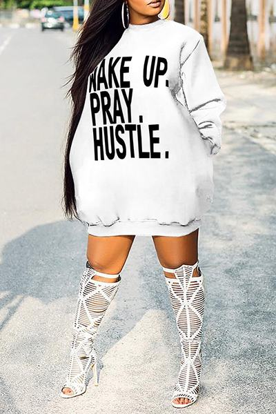 Graphic Pray Print Long Sleeve Round Neck Short Sweatshirt Dress