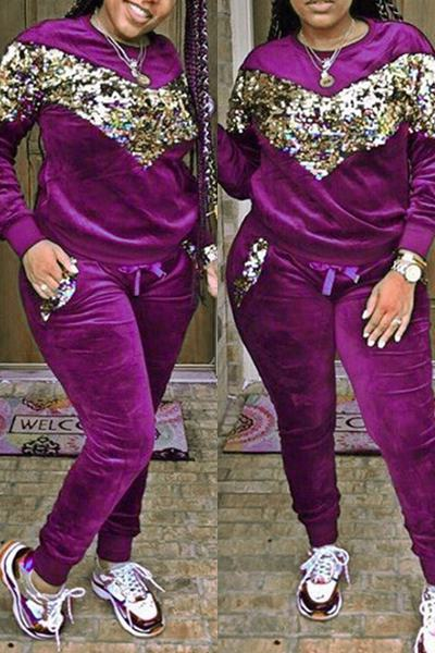 Chevron Sequinned Long Sleeve Crew Neck Sweatshort & Pants Set