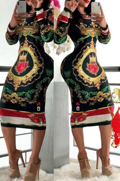 Kitsch Print Long Sleeve Pussy Bow Striking Knee-Length Dress