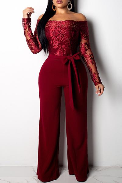 Lace Boddice Long Sleeve Off Shoulder Evening Romper Jumpsuit