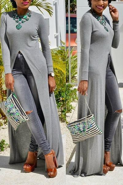 Long Sleeve Round Neck Long Plain Tunic
