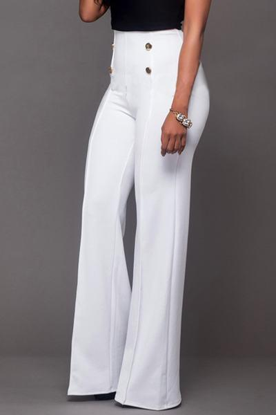 High Waist Wide Leg Regular Plain Pants