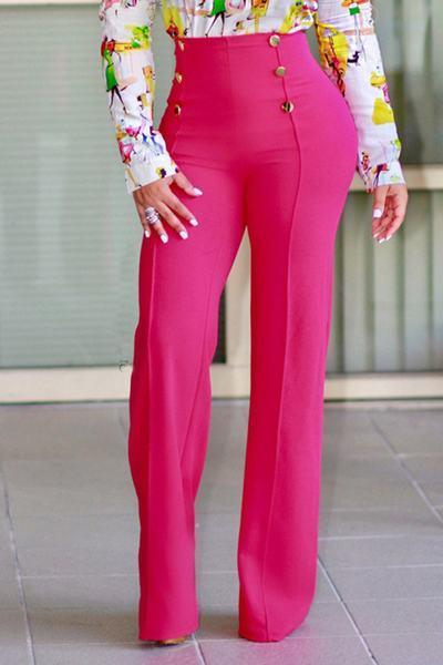 Plain Wide Leg High Waist Regular Pants