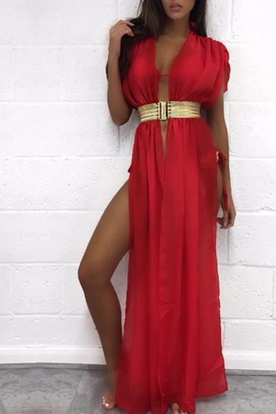 Plain Deep V Neck Cap Sleeve Long Gown