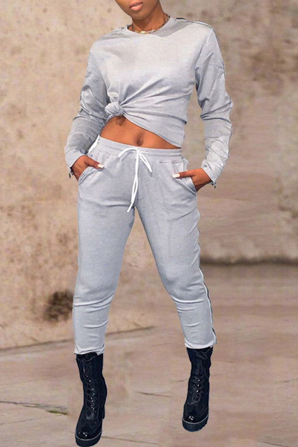 Solid Color Zipper Sleeve Two Piece Set