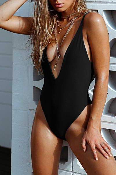 Deep V Neck Swimsuit