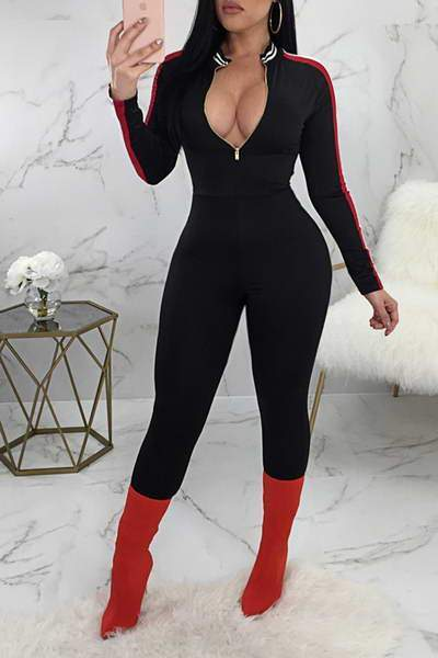 long-sleeve-v-zipper-neck-long-hot-striped-detail-jumpsuit-romper