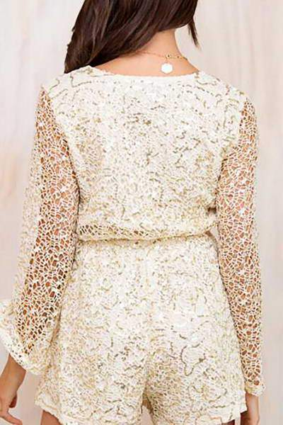 Bell Sleeve Sequin Dress