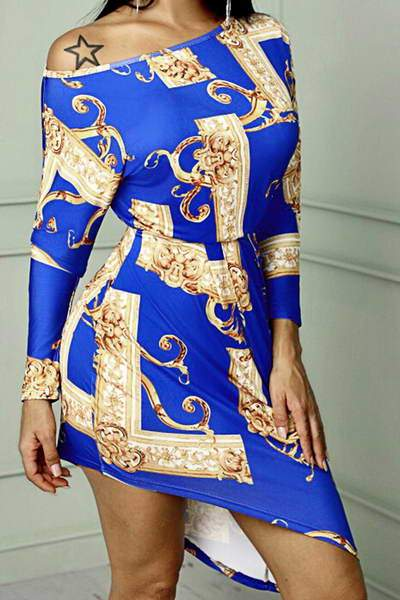 blue-gold-long-sleeve-boat-neck-asymmetric-hem-bold-chain-print-dress