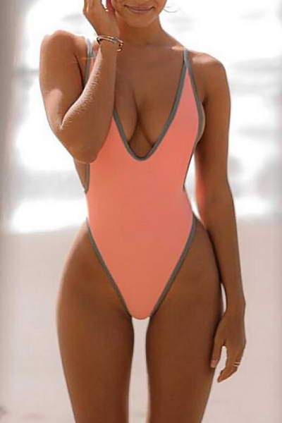 high-leg-deep-v-neck-sporty-contrast-trim-plain-backless-swimsuit