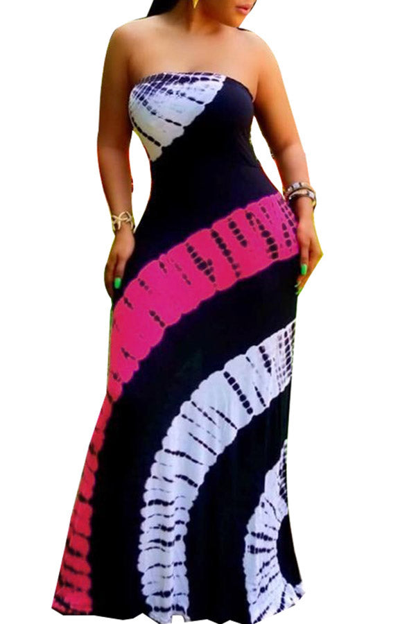 Tie Dye Long Tube Dress