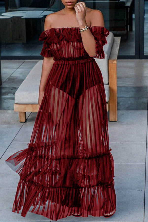 Sheer Frilly Maxi Dress