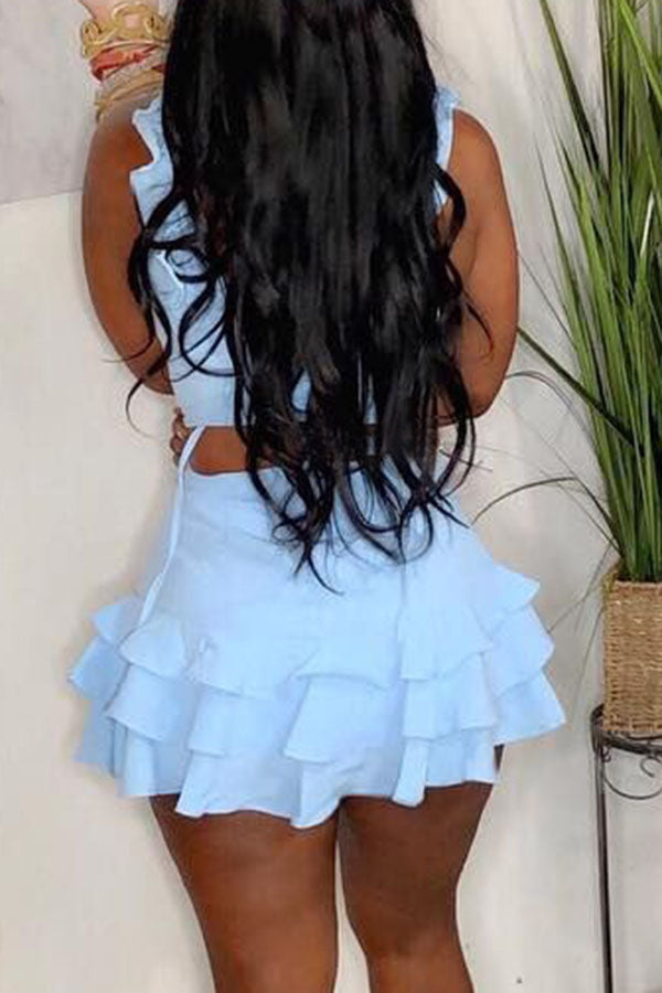 Baby Blue Ruffle Set