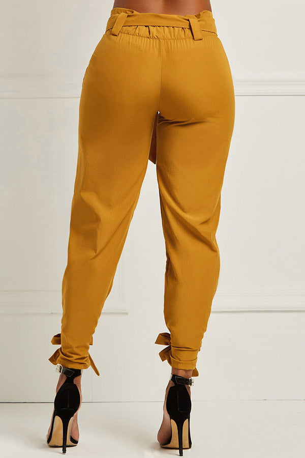 Solid Colour Lace-Up Pants