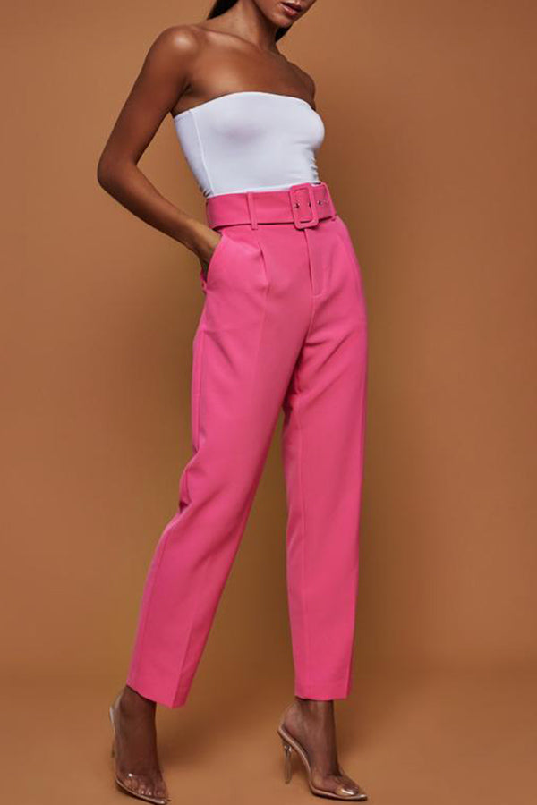 High Waist Solid Color Straight Trousers (With Belt)