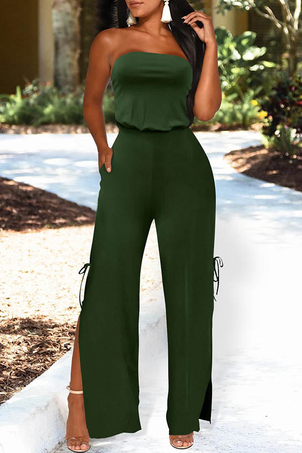 Solid Color Bacless Opening Fork Jumpsuit