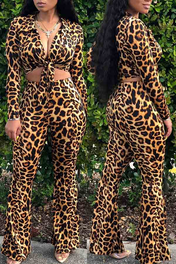 Leopard Lace-Up Top Trousers Two-Piece Suit