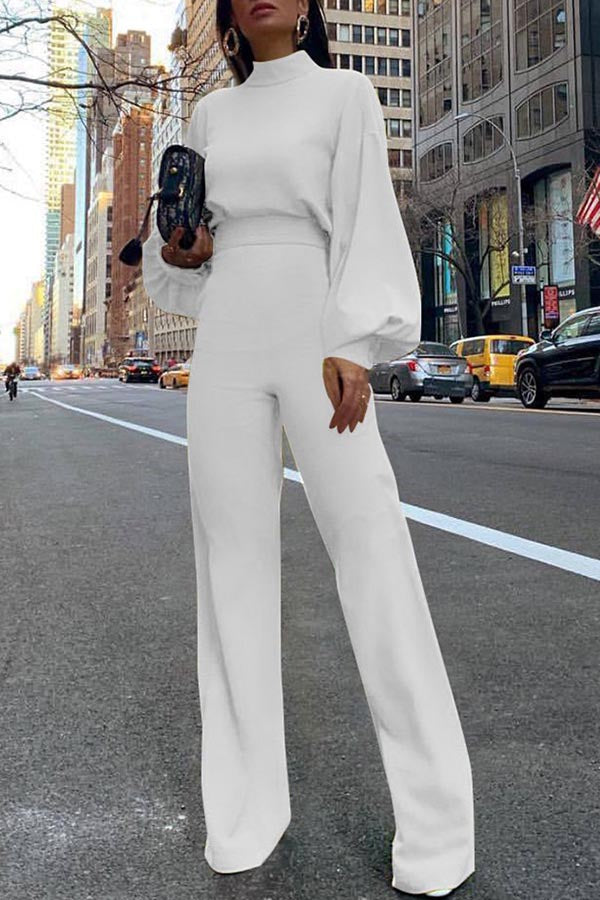 Solid Color High-Collar Backless Jumpsuit