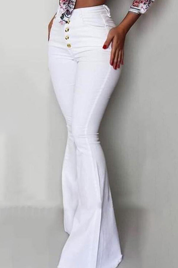 Solid Color High Waistband Buttock Bell Trousers