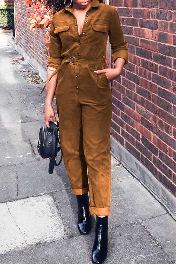 Solid Color Corduroy Jumpsuit