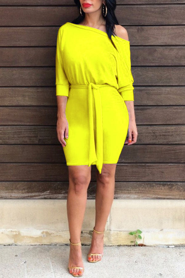 Bat Sleeve Solid Color Dress