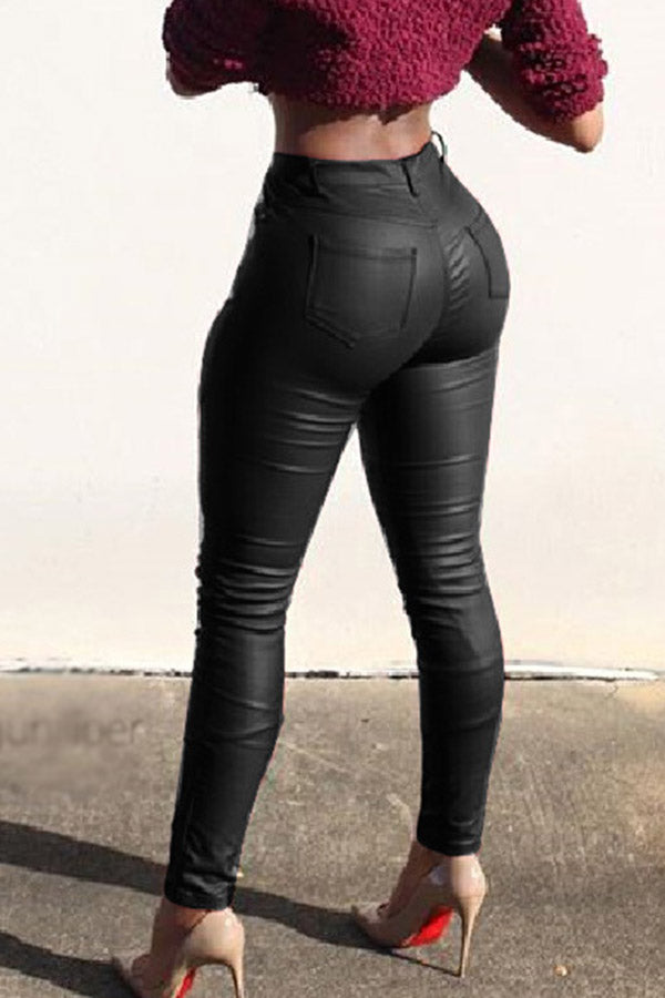 Folded Tight Elastic Leather Pants