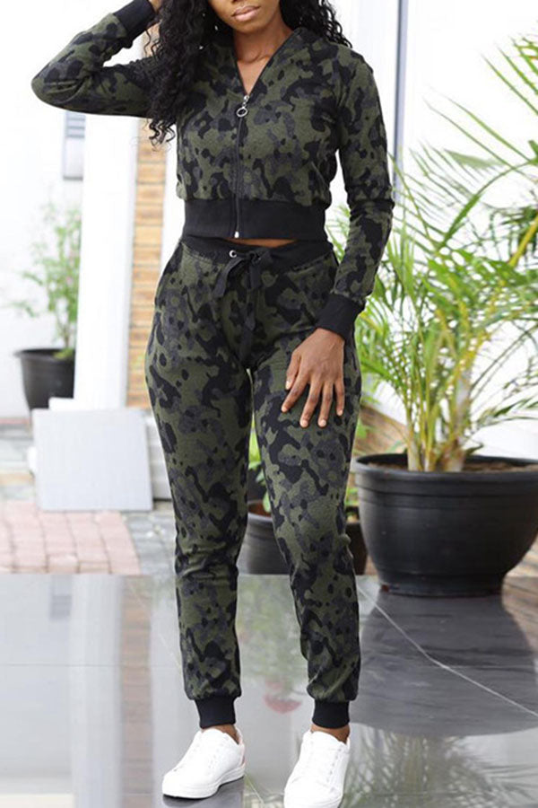 Camouflage Print Short Top Set