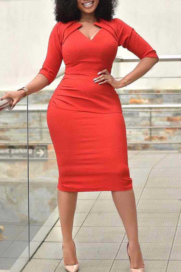 V-Neck Short Sleeve Tight Wrap Hip Dress