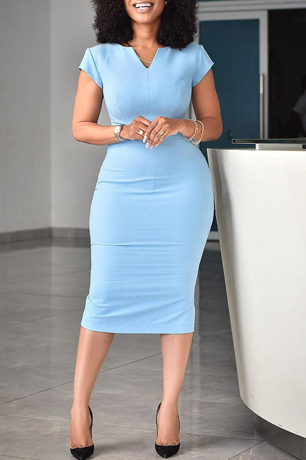 V-Neck High Waist Dress