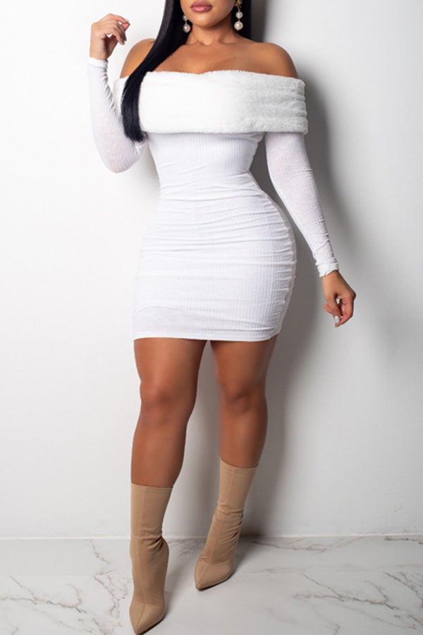 Off Shoulder Plush Slim Dress