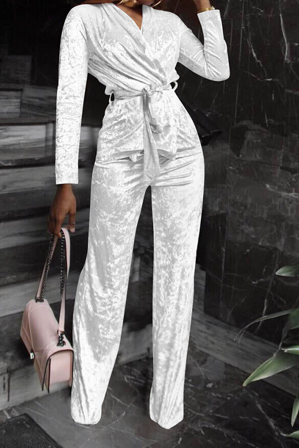 Solid Color Lace-Up Suit