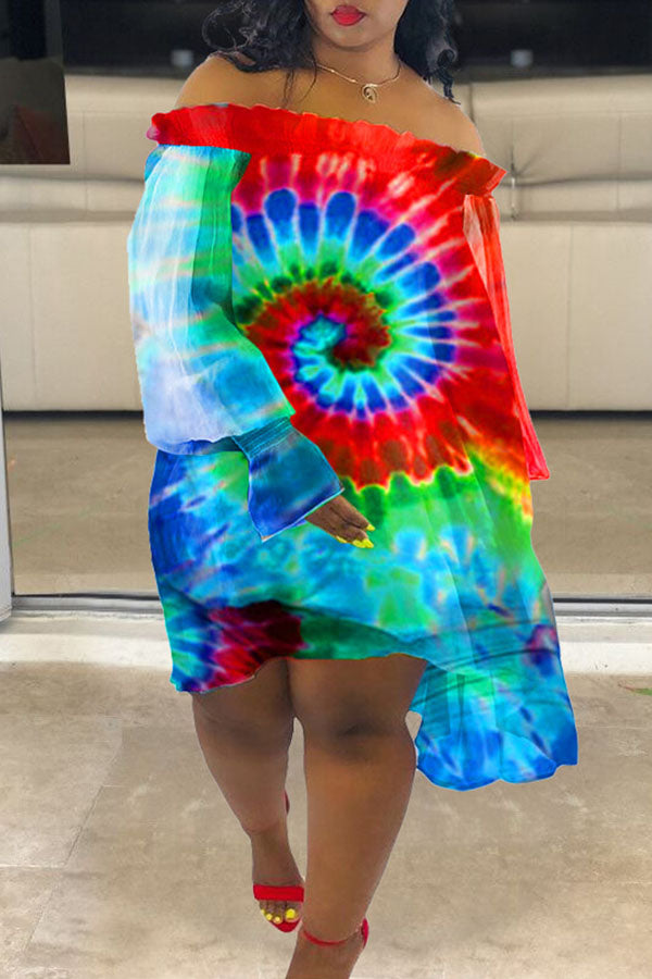 Tie-Dyed Off Shoulder Loose Dress