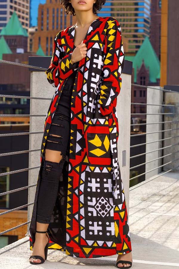 Printed Long Coat (With Belt)