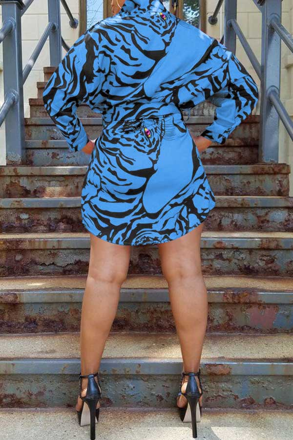Printed Shirt Dress (With Belt)