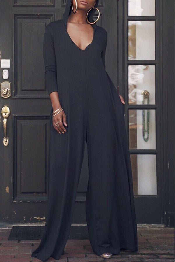 Solid Color Long-Sleeved Jumpsuit