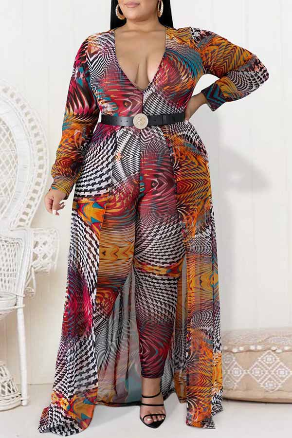 Deep V-Neck Printed Jumpsuit